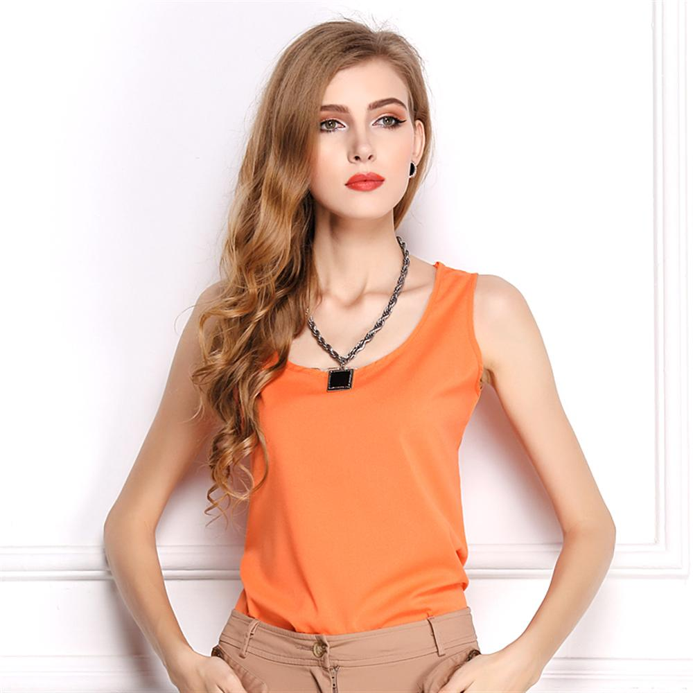 2019 Fashion Women's   Tank     Tops   Summer Sleeveless Chiffon Shirt Solid Square collar Casual Plus Size Loose Female   Top