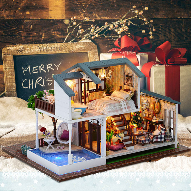 DIY Cottage Hand Assembled Wooden Doll House Innovative Birthday Gift