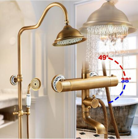 Luxury Antique Brass Thermostatic Rainfall Shower Set Faucet Tub Mixer Tap Hand held Shower Thermostatic Bath and shower faucet