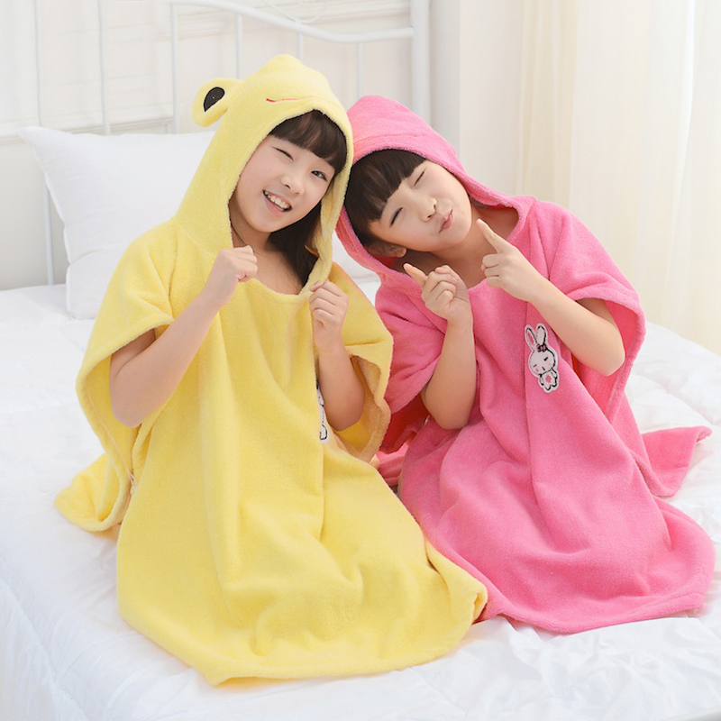 Childrens cotton hooded towel cartoon bathrobe hooded bathrobe baby cloak bathing Phi