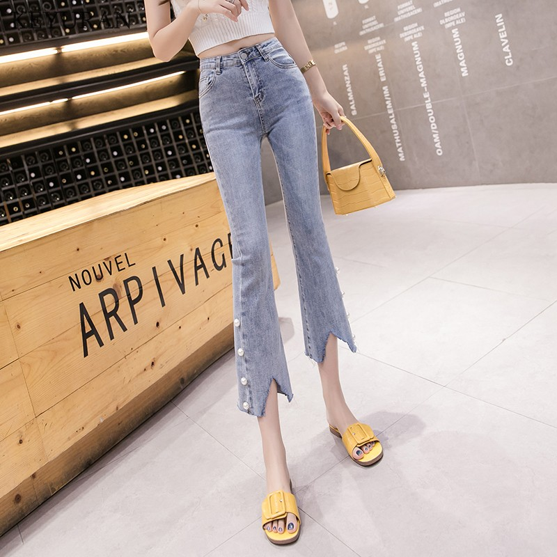 Vintage Flare Pants Women 2019 Summer New Beaded Pearl Irregular Denim Trousers Elastic High Waist Skinny Jeans blue L3649(China)