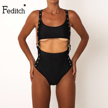 3d9dfce1c2 Feditch 2018 New Sexy Black Sleeveless Tight Halter Bodysuits Beach  Vacation Summer Jumpsuit Women Backless One Piece Rompers
