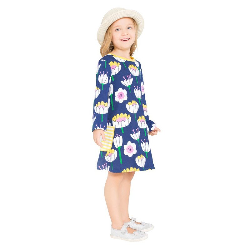3-12 years Children dresses flower new fashion baby girls clothing with pockets autumn spring kids long sleeve hot selling dress long sleeve tartan dress with pockets