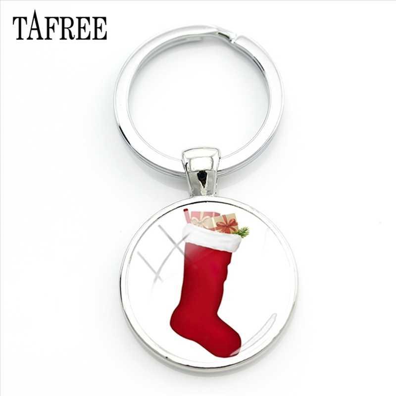 TAFREE מחייך סנטה קלאוס מחזיקי מפתחות חדש אופנה החג שמח מפתח שרשרת מפתח טבעת מחזיק מפתחות המכונית ידידות Jewlry מתנה CM96-25