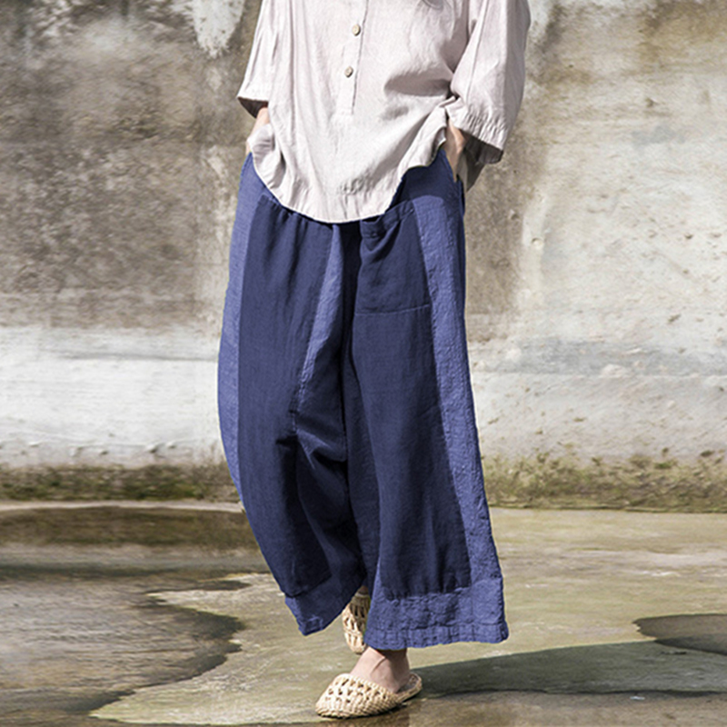 Johnatrure 2018 Spring Women Patchwork Loose   Pants   New Casual Simple Elastic Waist Cotton Linen Long   Wide     Leg     Pants