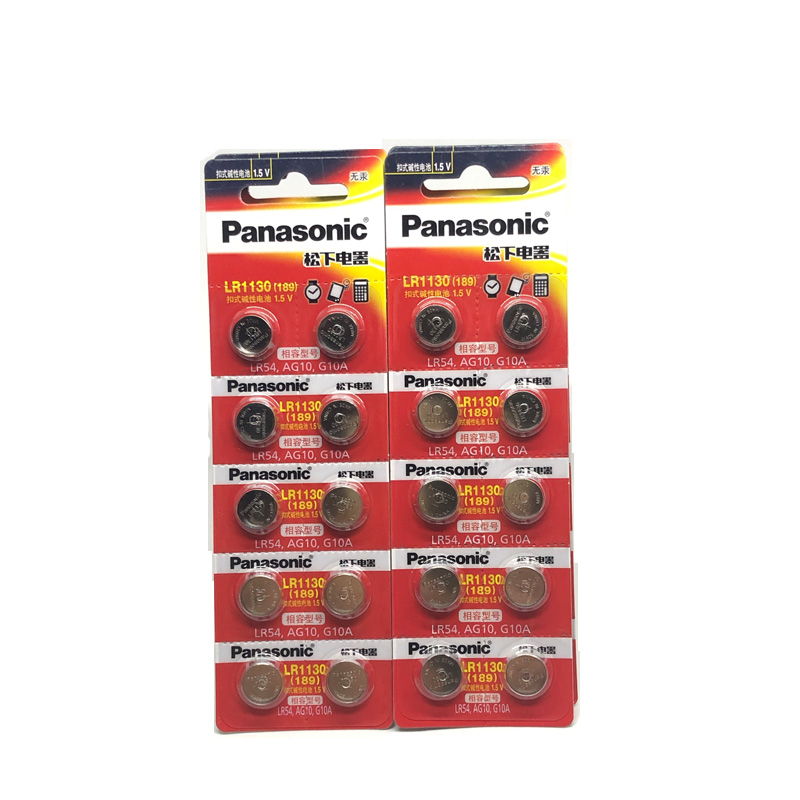 50pcs/lot 100% Original Panasonic <font><b>1.5V</b></font> <font><b>AG10</b></font> LR1130 Alkaline Button Coin Cell <font><b>Battery</b></font> <font><b>AG10</b></font> 389 LR54 SR54 SR1130W 189 LR1130 image
