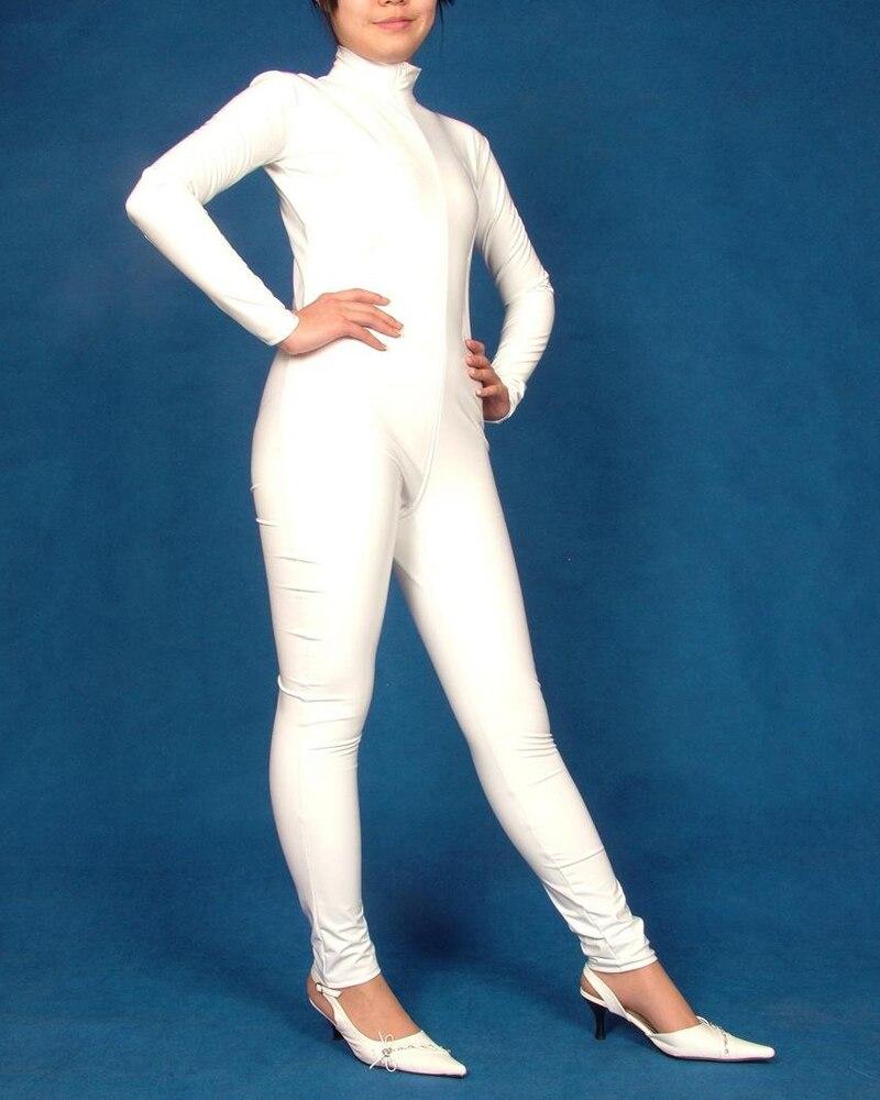 New Fancy dress lycra White spandex zentai Catsuit Mask S-XXL