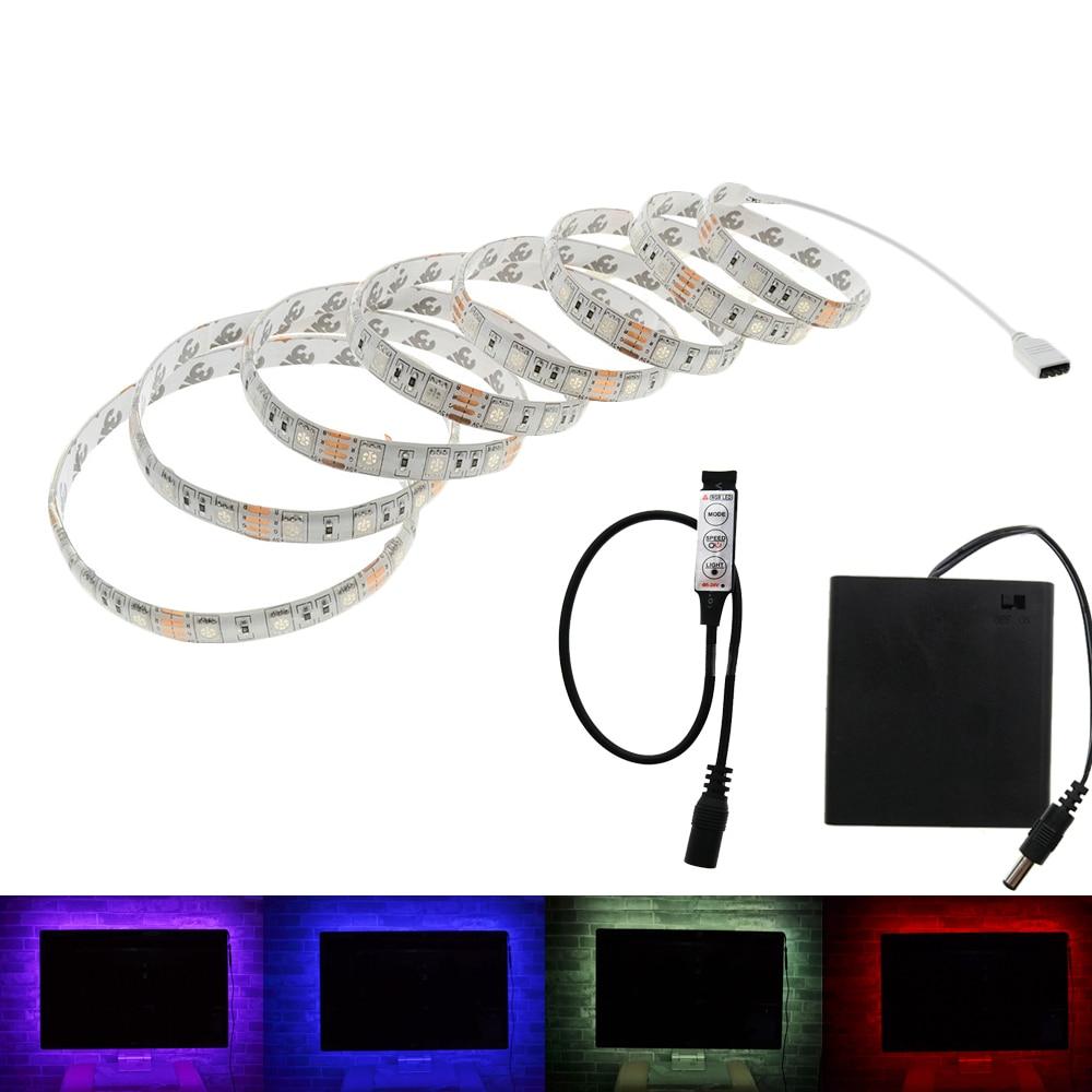 배터리 LED 스트립 SMD 5050 5V IP20 / IP65 방수 테이프 조명 DIY 홈 장식 램프 배터리 상자 RGB / 화이트 / 따뜻한 화이트