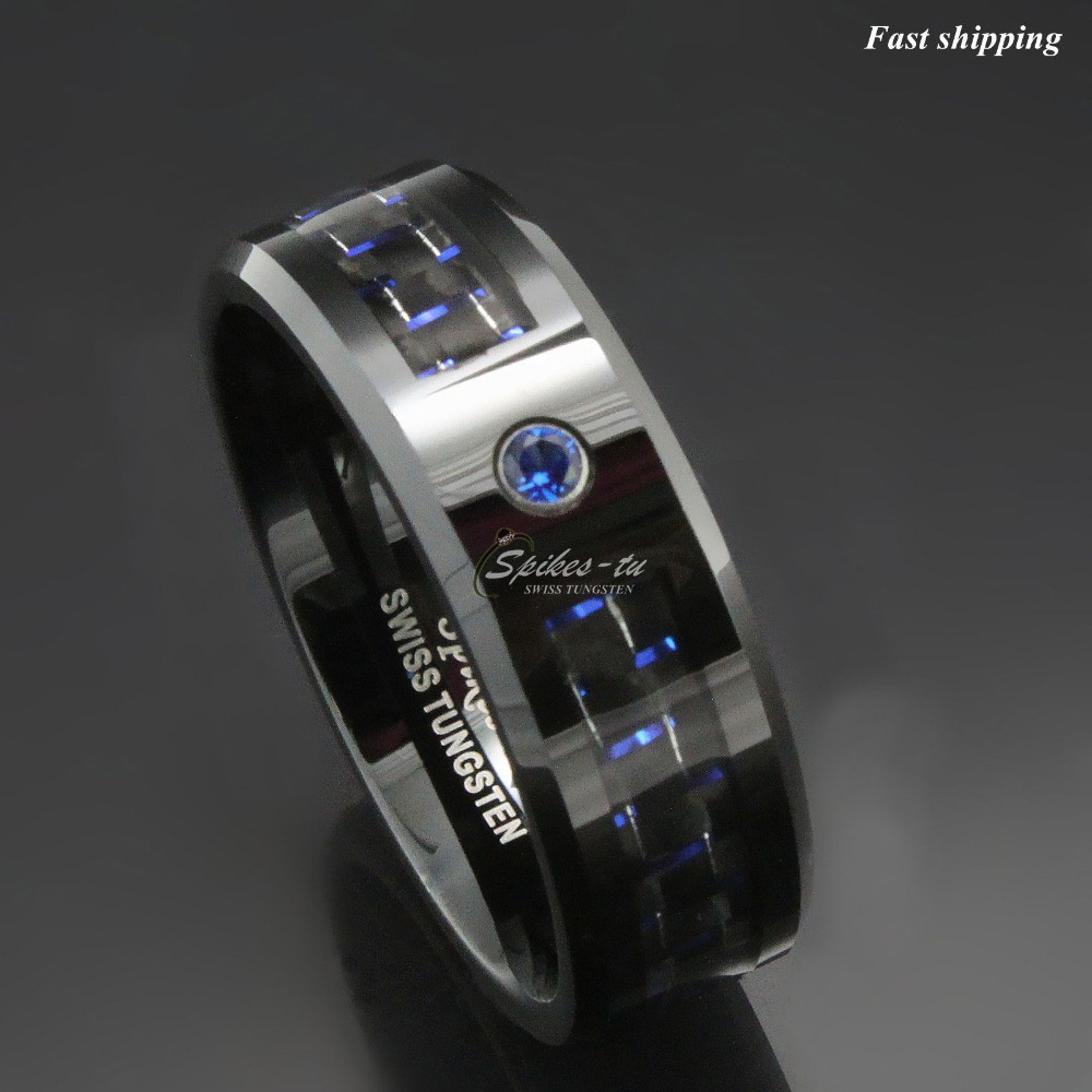 5x negro y azul fibra de carbono tungsteno anillo azul hombres joyería boda banda envío gratis-in Anillos from Joyería y accesorios    1