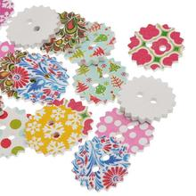 100Pcs Mixed Colourful Gear Shaped Wooden Sewing Buttons 2 Holes Craft Scrapbook 24x24mm(1 x1)