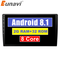 Eunavi 2 Din 9 inch Android 8.1 Universal Car Radio Stereo GPS Navigation Head Unit steering wheel control Octa core 1024*600 HD