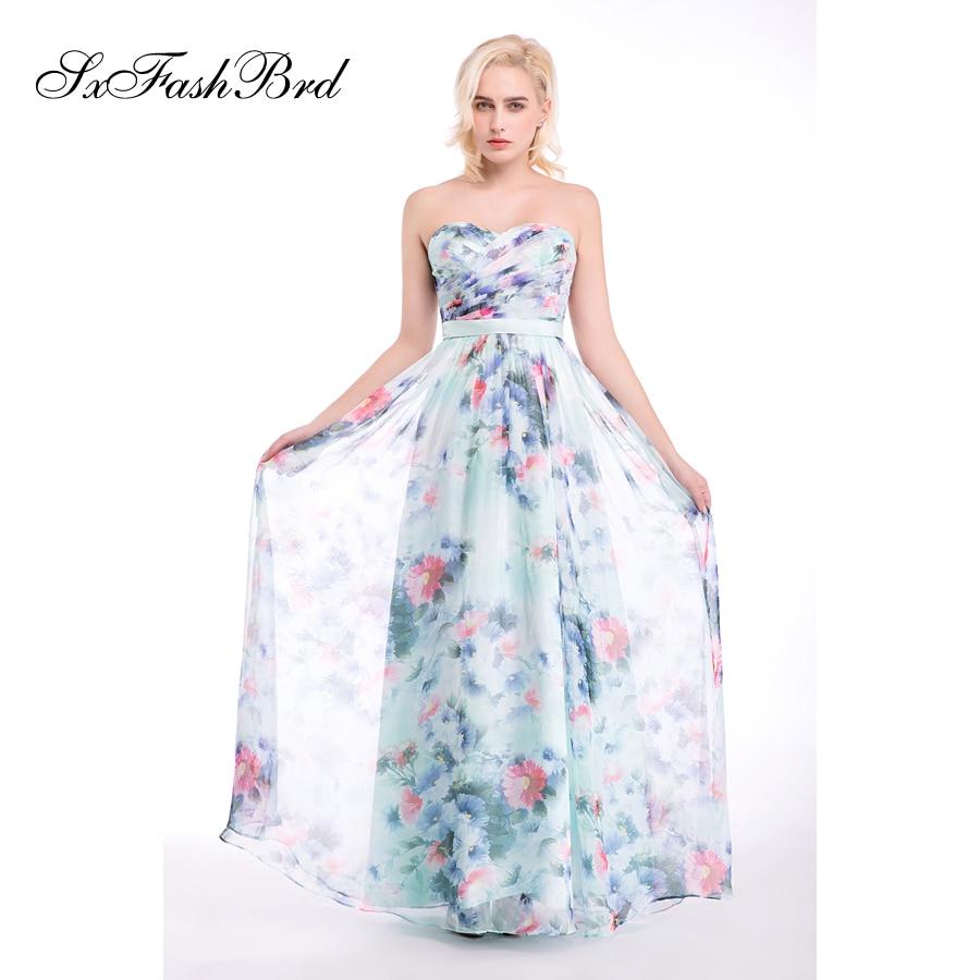 Vestido De Festa Sweetheart A Line Summer Print Flower Chiffon Long - Հատուկ առիթի զգեստներ - Լուսանկար 2