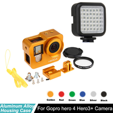 цена на hero 4 Hero3+ Aluminum Alloy CNC Protective housing case Shell + Lens filter + flash light for Gopro hero4 3+ camera accessories