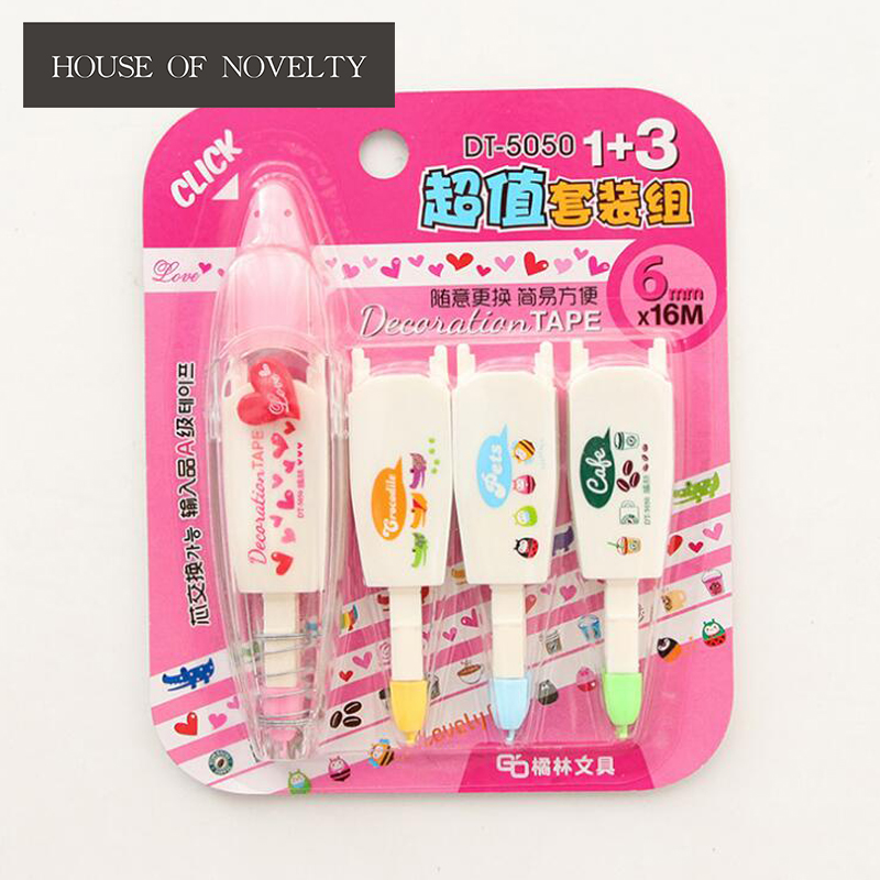 Creative Heart Coffee Animal Replaceable Press Type Decorative Correction Tape Diary Stationery School Supply