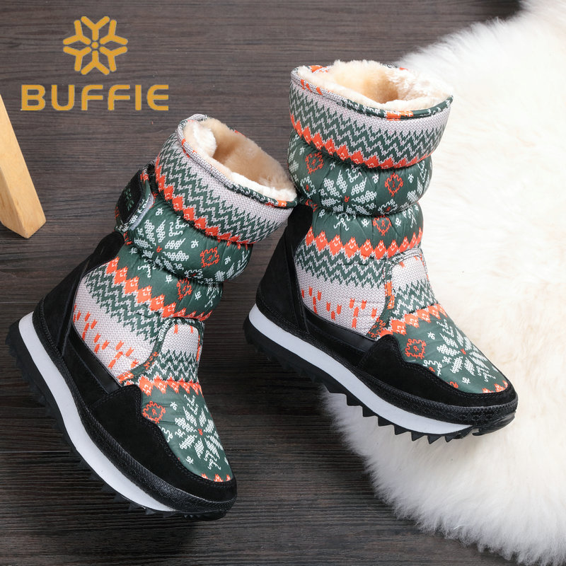 2019 Children warm Boots Army Green snowflake color size from 27 to 33 plush thick fur kids winter boots free shipping buckle in Boots from Mother Kids