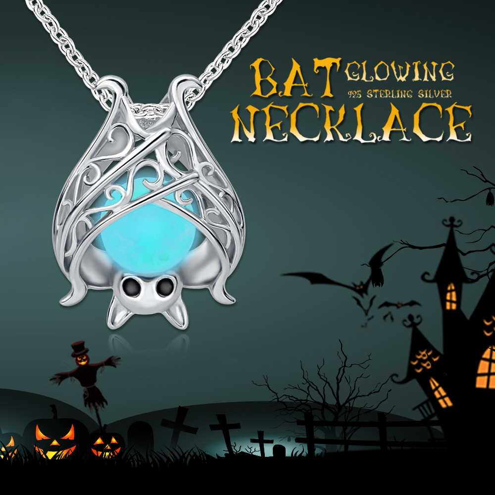 925 Sterling Silver Chain Luminous Pendant Fashion Jewelry Glowing Bat Necklace