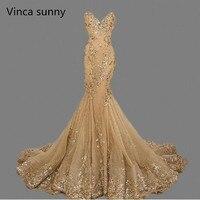 Vestido De Festa Luxury Evening Gowns Sweetheart Robe De Soiree Gold Sequins Mermaid Evening Dresses Long