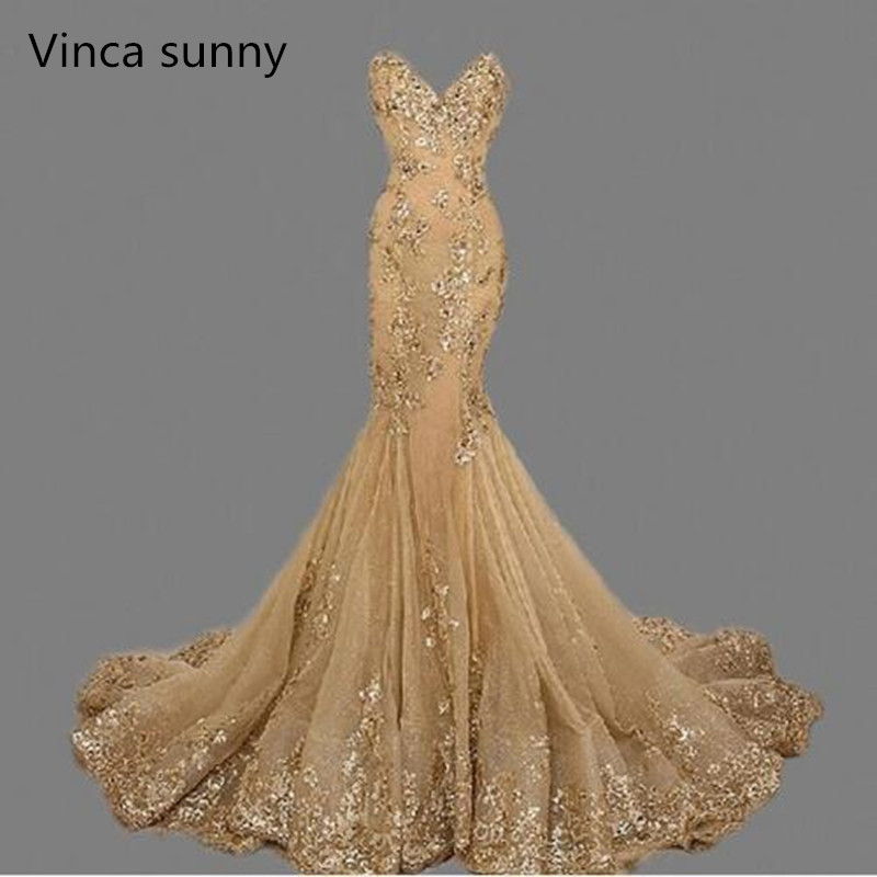 vestido de festa Luxury Evening Gowns Sweetheart robe de soiree Gold Sequins Mermaid Evening Dresses Long 2018 Best Selling