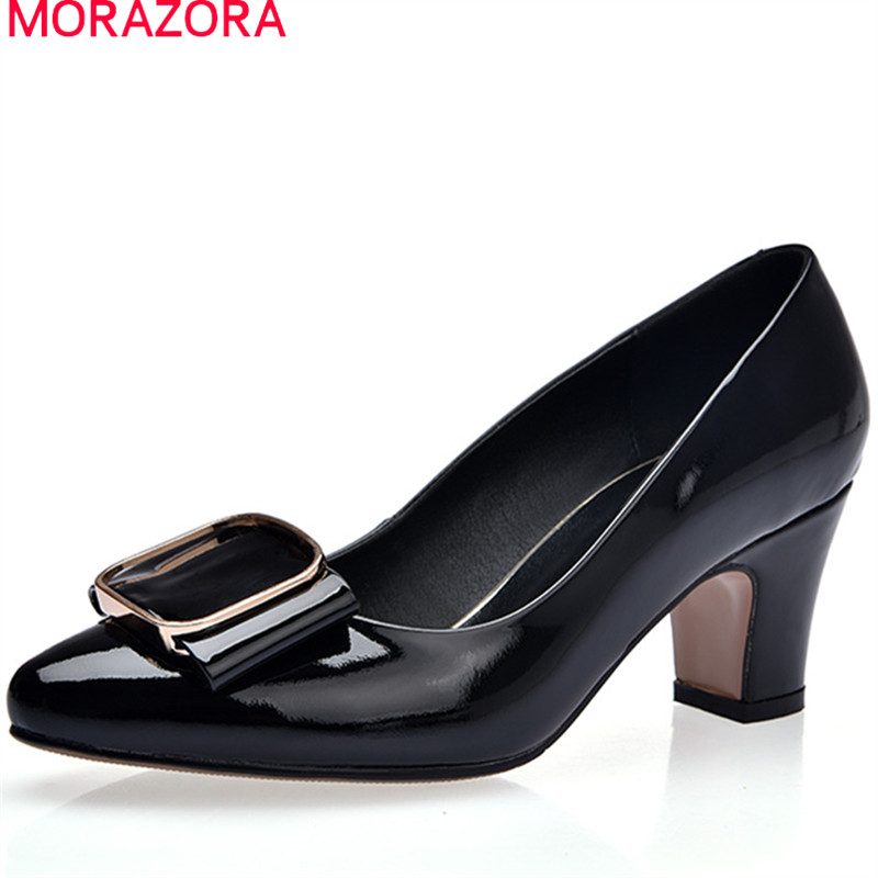 MORAZORA 2018 summer spring genuine leather pumps women shoes high heels shallow slip on pointed toe mature female shoes nayiduyun women genuine leather wedge high heel pumps platform creepers round toe slip on casual shoes boots wedge sneakers