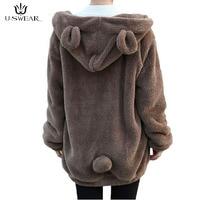 Harajuku Lady's Sweatershirt Hoodies Zipper Girl Winter Loose Fluffy Bear Ear Hoody Jacket Warm Coat Cute Sweatshirt for Women