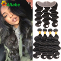 Big Promoção Brasileiro Do Cabelo Weave Bundles Com Encerramento 13x4 Lace Frontal Encerramento Com 4 Bundles Não Transformados 7a Stema cabelo