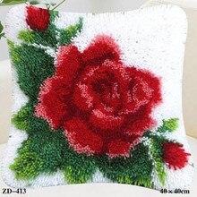 Набор ковриков с крючками-защелками, вышитая Подушка с цветком, вязаная Роза Kussen Knooppakket, швейная нить, наборы подушек для рукоделия, сделай сам