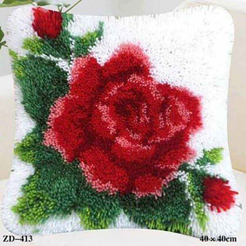 Latch Hook Rug Kits Embroidery Pillow Flower Knitting Rose