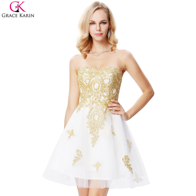 Short Prom White and Gold