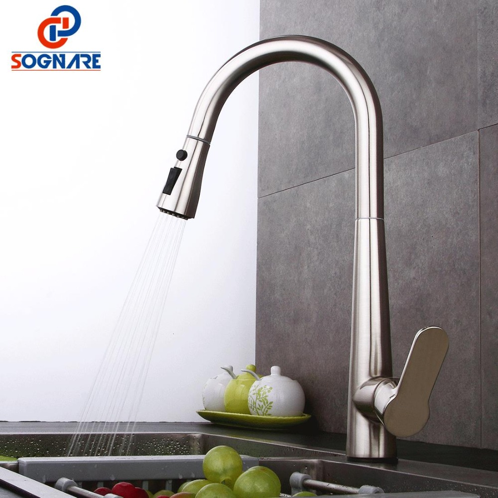 SOGNARE Kitchen Sink Faucet For Kitchen Faucet Pull Out Handle Solid Brass Single Handle Mixer Sink Kitchen Mixer Water FaucetSOGNARE Kitchen Sink Faucet For Kitchen Faucet Pull Out Handle Solid Brass Single Handle Mixer Sink Kitchen Mixer Water Faucet