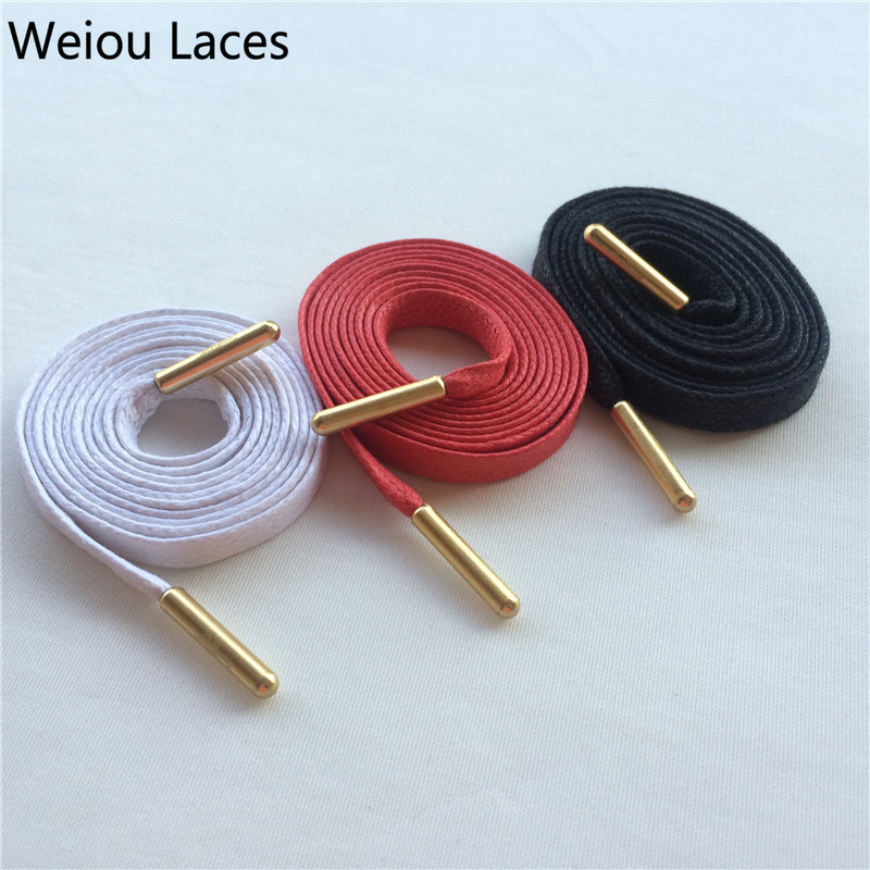 (30pairs/Lot)Weiou Gold Metal Aglets Waterproof Flat Waxed Shoelaces Colored Dress Casual Bootlace Oxford Canvas Lacing Cord