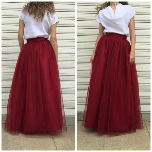 f52b0636bb Burgundy Tulle Long Skirt Casual A Line Floor Length Maxi Skirts Custom  Made Wine Red Skirts Womens Free Ship Zipper Waistline