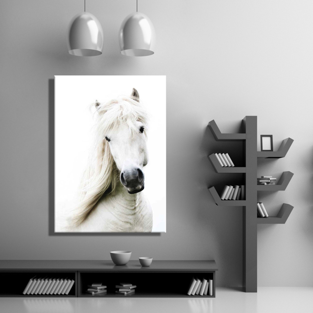 Oil Painting Canvas The White Horse Wall Art Decoration Painting Home Decor  On Canvas Modern Wall Picture For Living Room(1PCS) In Painting U0026  Calligraphy ...