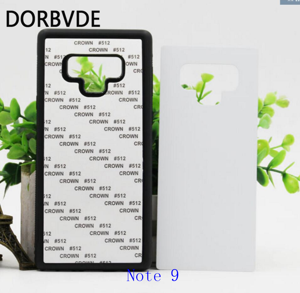 2D Sublimation Blank TPU PC rubber Case for Samsung Note 9 cover with Aluminum Inserts 100pcs