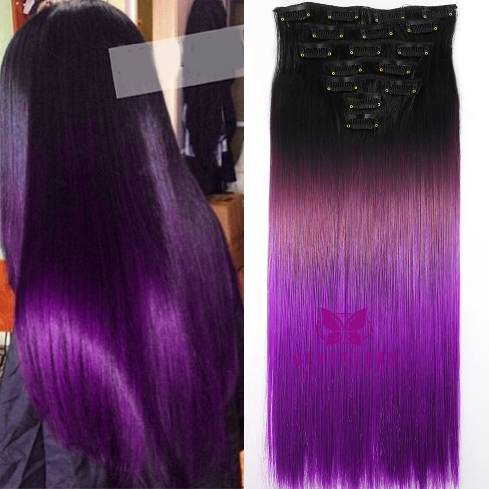 Fashion 24 Long Clip In Hair Extensions Black To Purple Ombre Color Straight Hairpiece Hair