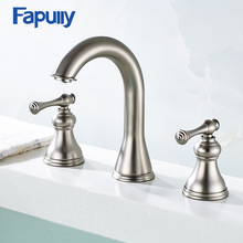 198-44N Basin Faucet Deck Mounted Three Hole Faucet Cold & Hot Nickel Brushed Bathroom Sink Faucet Bath Tap flg bath mat bathroom faucet brushed nickel deck mounted 304 stainless steel basin faucet bath taps cold