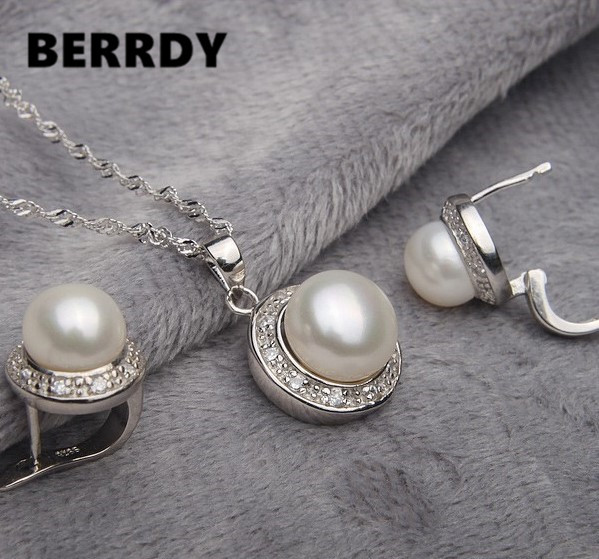 Real Pearl Jewelry Set Bridal Wedding Jewelry Set 4 Color Necklace Earrings Set with Cultured Pearl