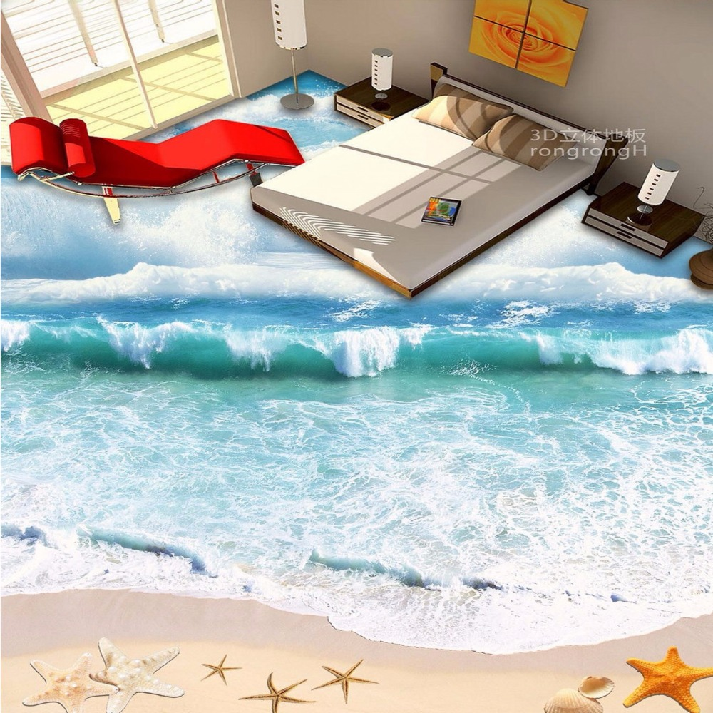 Free Shipping custom 3D floor mural sea shells painting home walkway lobby non-slip floor wallpaper mural