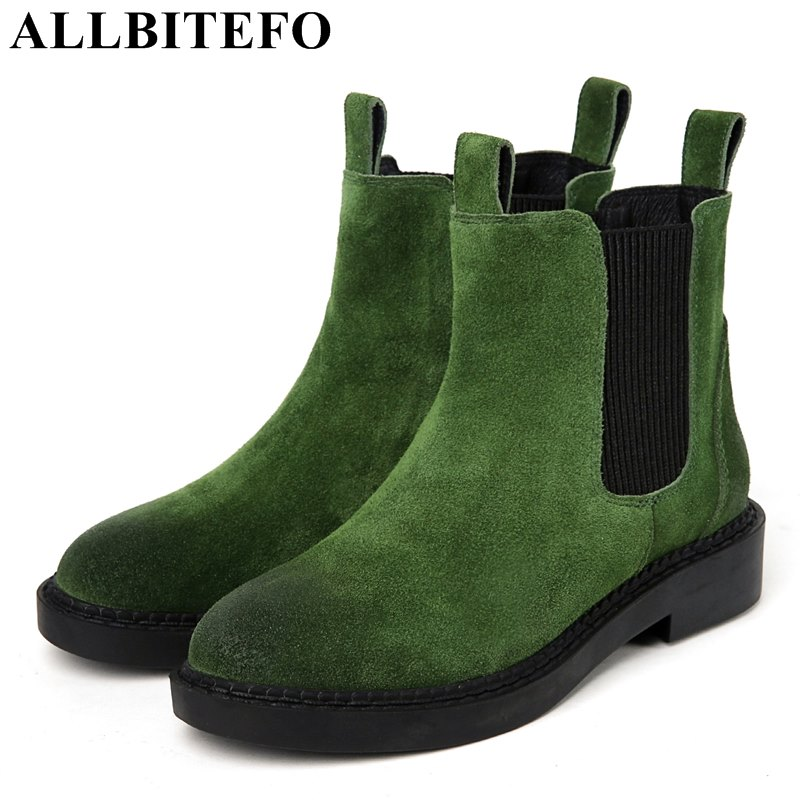 ALLBITEFO thick heel Nubuck leather round toe women boots brand low heeled platform Elastic band women