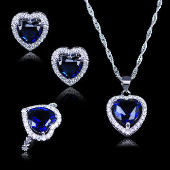 Russian Simple Style Heart Blue Crystal White Zircon 925 Logo Silver Color Jewelry Sets For Lady Ring Necklace Pendant Earrings