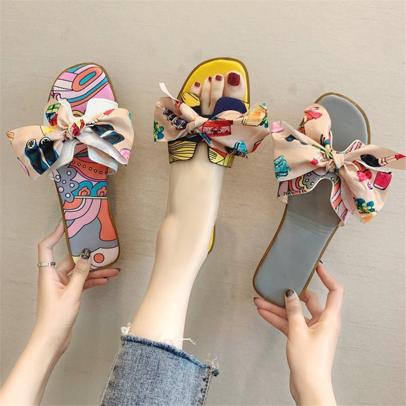 Bohemia Sandals Knot-Flat-Shoe Outdoor Summer Women Ladies Hot Cut-Out with Candy-Color