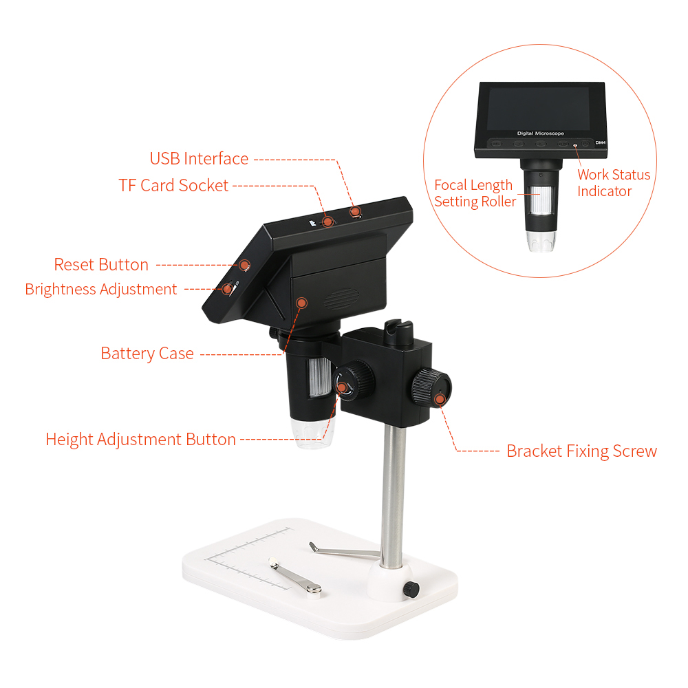 HYCQ USB Microscope with LED Handheld USB Digital Microscope Supports 500 Times Magnifier Photo Shooting Supports Android OTG Smartphone-PC,2