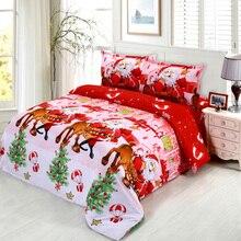 4pcs 3D Printed Bedding Set Merry Christmas Santa Claus Bedding Set Bedclothes Duvet Cover Bed Sheet housse de couette New Year
