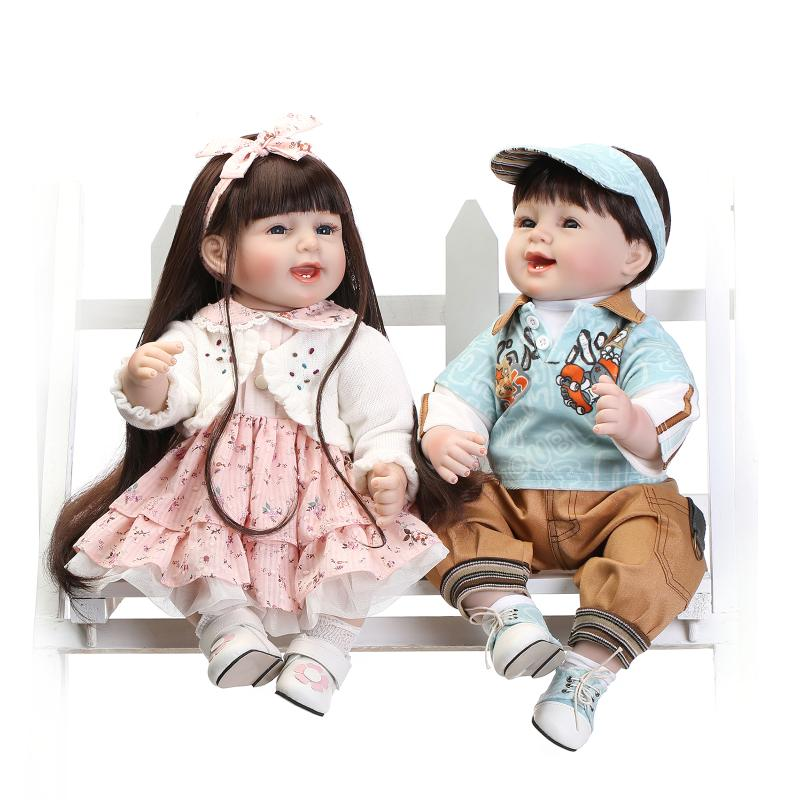 55CM 22'' Lifelike Soft Silicone Baby Reborn Doll Girls Boys Playmate Kid's Accompany Toys Birthday Gift Children Smiling Dolls карандаш для губ provoc semi permanent gel lip liner 08 цвет 08 wine stained variant hex name 7e303e