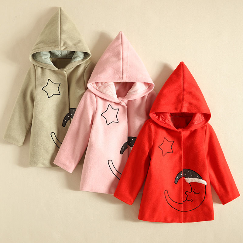 IMMDOS 2017 Winter Baby Wool Outerwear Girls Christmas Clothing Long Sleeve Hooded Coat For Girl Kids Halloween Cute Clothes immdos children coat for girl winter wool outerwear kids long sleeve hooded warm baby clothing girls solid fashion jacket