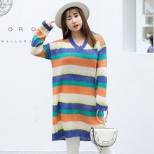 2018 New color striped long sweater women Wool blend fashion v-neck female pullover top plus size 3xl winter ladies knitted coat недорого