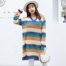 2018 New color striped long sweater women Wool blend fashion v-neck female pullover top plus size 3xl winter ladies knitted coat цена в Москве и Питере