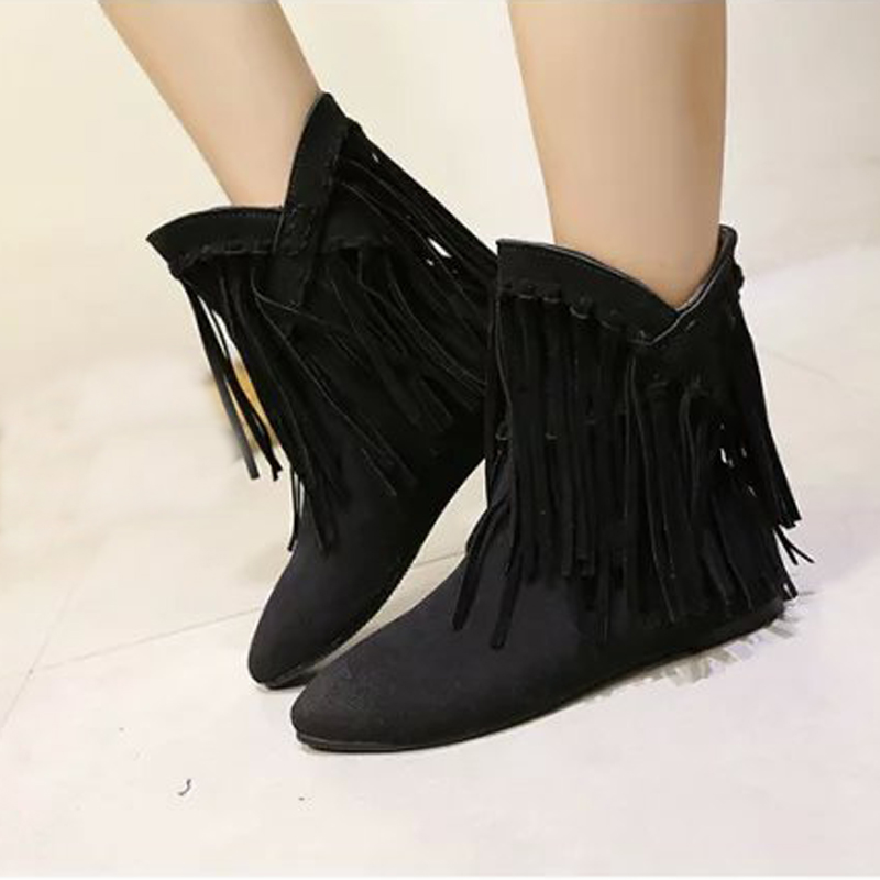 ФОТО 2015 New Arrival Women Boots Nubuck Leather Ankle Boots For Women Winter Fashion Tassel Martin Boots  Botas Mujer BT63