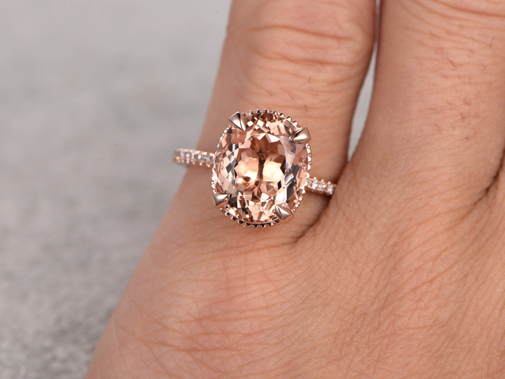 11x9mm 45ct oval cut morganite engagement ring 14k rose gold white topaz side stone peach gemstone bridal set ring for women in rings from jewelry - Morganite Wedding Ring