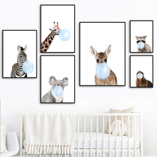 Giraffe Raccoon Koala Zebra Sheep Balloon Wall Art Canvas Painting Nordic Posters And Prints Pictures For Kids Room Decor