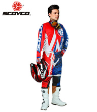 SCOYCO Motorcycle Racing Clothing Combinations Motocross Off-Road Dirt Bike DH Jersey + Hip Pads Pants + Full Finger Gloves Set